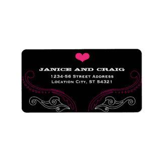 Pink & Black Rock 'n' Roll Music Themed Wedding Label