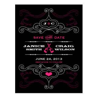 Pink & Black Rock 'n' Roll Music Themed Wedding Postcard