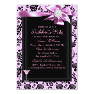 Pink & Black Rose Bachelorette Party Invite