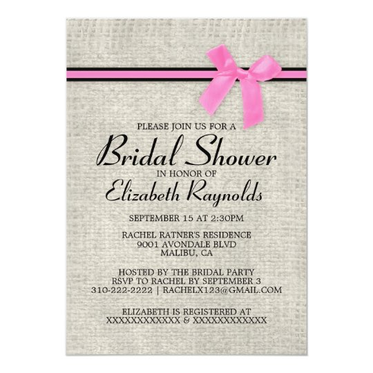 Pink Black Rustic Burlap Bridal Shower Invitations