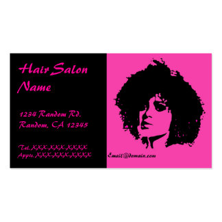 Pink black sassy fashion woman hair salon cards pack of standard business cards