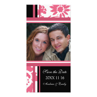 Pink Black Save the Date Wedding Photo Cards