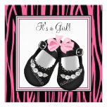 Pink Black Shoes Hot Pink Zebra Baby Shower Custom Invitation