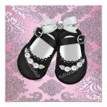 Pink Black Shoes Pink Black Damask Baby Girl