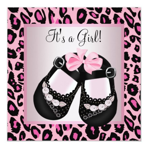 Pink Black Shoes Pink Leopard Baby Girl Shower 13 Cm X 13 Cm Square Invitation Card