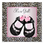 Pink Black Shoes Pink Leopard Baby Girl Shower Personalised Invites