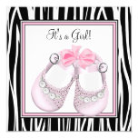 Pink Black Shoes Pink Zebra Baby Girl Shower Personalised Invites