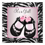 Pink Black Shoes Pink Zebra Baby Shower 13 Cm X 13 Cm Square Invitation Card