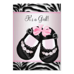 Pink Black Shoes Pink Zebra Baby Shower Personalised Invites