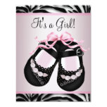 Pink Black Shoes Pink Zebra Baby Shower Custom Announcements