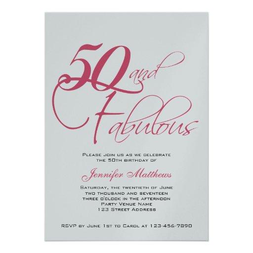 Pink Black Silver 50th Birthday Invitations