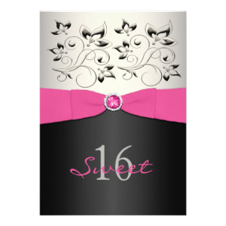 Pink Black Silver PRINTED Ribbon Sweet 16 Invite
