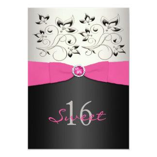 Pink Black Silver PRINTED Ribbon Sweet 16 Invite