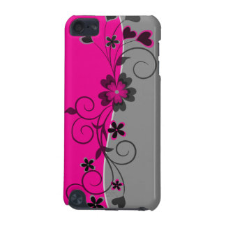 Pink Black Silver swirly flowers and hearts design iPod Touch 5G Cases