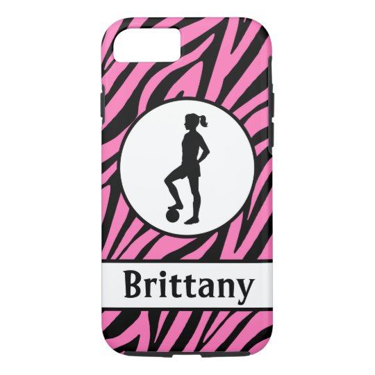 Pink Black Soccer Cell Phone Case