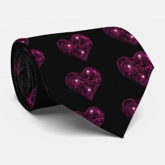Pink & black sparkly heart tie