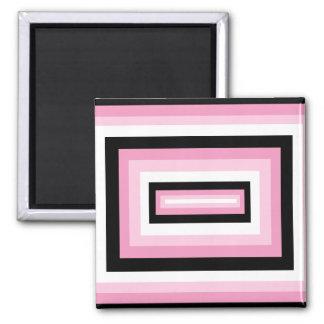 Pink/Black Squares Square Magnet