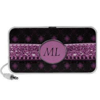 Pink & Black Starry Night Glitter Ribbon Monogram Mini Speaker