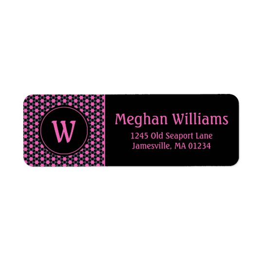 Pink Black Stars Monogram Return Address Labels