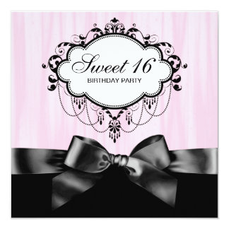 Pink Black Sweet 16 Birthday Party 13 Cm X 13 Cm Square Invitation Card