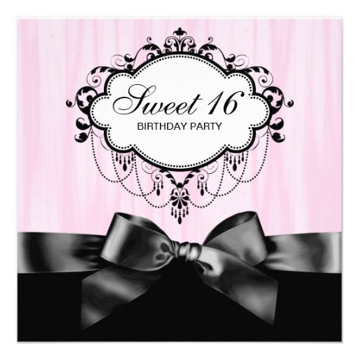 Pink Black Sweet 16 Birthday Party Personalized Invites