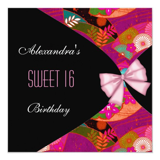 Pink Black Sweet 16 Birthday Party Invitation Flor
