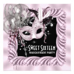 Pink Black Sweet 16 Masquerade Party Announcement
