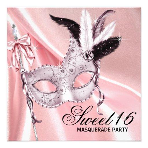 Pink Black Sweet 16 Masquerade Party Custom Invitations