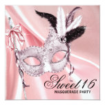Pink Black Sweet 16 Masquerade Party Custom Invites