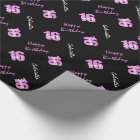 Pink Black Sweet 16 Personalised Wrapping Paper