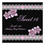 Pink Black Sweet Sixteen 16 Party White Flower Custom Announcements