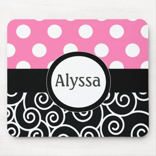 Pink Black Swirl Dots Personalised Mousepad