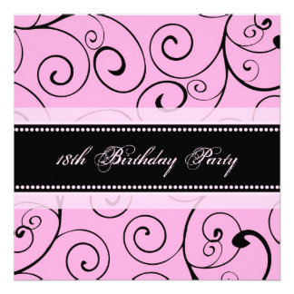 Pink Black Swirls 18th Birthday Party Invitations