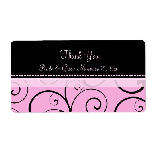 Pink Black Swirls Wedding Labels