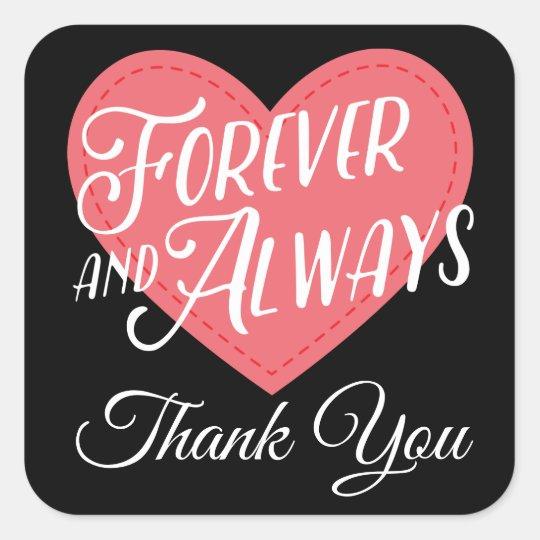 Pink & Black Thank you Heart Wedding Bridal Shower Square Sticker