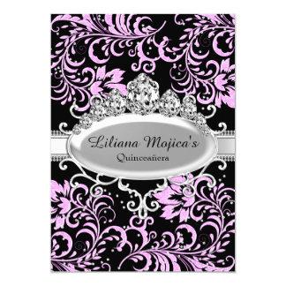 Pink Black Tiara & Glitter Floral Quinceanera 13 Cm X 18 Cm Invitation Card