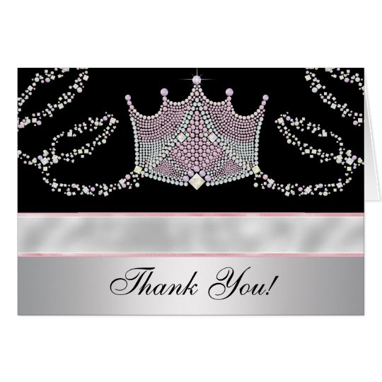 Pink Black Tiara Princess Thank You Cards
