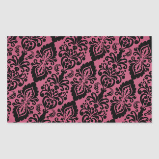 Pink Black Tilted Victorian Damask Pattern Rectangular Sticker