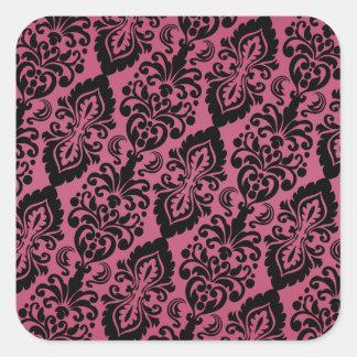Pink Black Tilted Victorian Damask Pattern Square Sticker