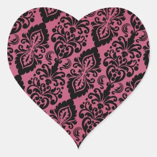 Pink Black Tilted Victorian Damask Pattern Heart Stickers