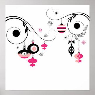 Pink & Black Vintage Christmas Ornaments Print