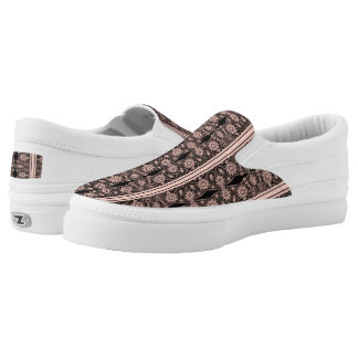 Pink & Black Vintage Lace Slip On Shoes
