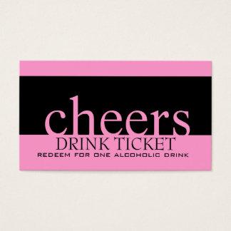 Pink Black Wedding Drink Ticket for Reception