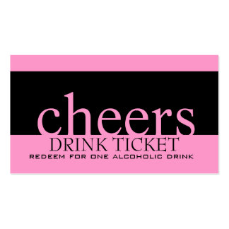 Pink Black Wedding Drink Ticket for Reception Pack Of Standard Business Cards