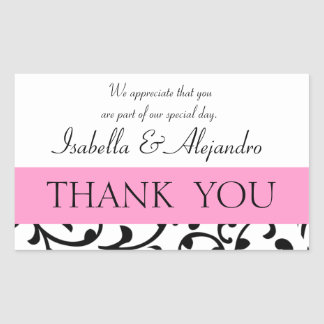 Pink Black Wedding Favor Thank You Message Rectangle Stickers