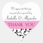 Pink Black Wedding Favor Thank You Message Sticker