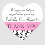 Pink Black Wedding Favour Thank You Message
