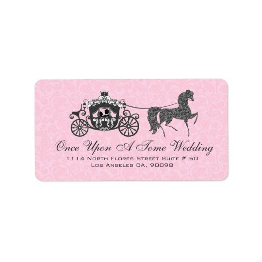 Pink & Black Wedding Horse & Carriage Address Label