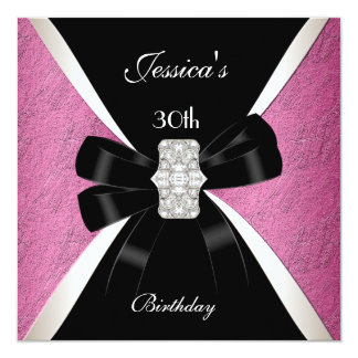 Pink Black White 30th Birthday 13 Cm X 13 Cm Square Invitation Card