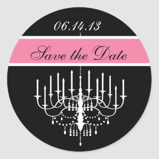 Pink Black/White Chandelier Save the Date Stickers